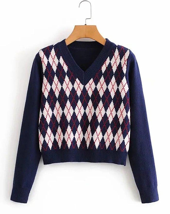 Argyle Vintage Sweater - Navy Blue L