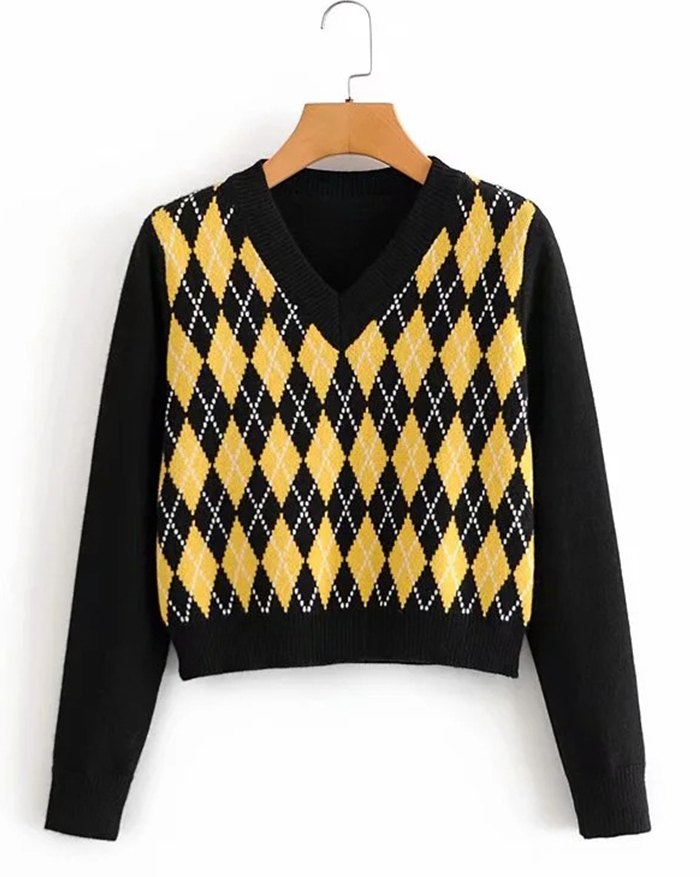 Argyle Vintage Sweater - Black L