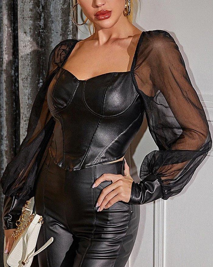 Patent Leather Mesh Sheer Blouse - Black L