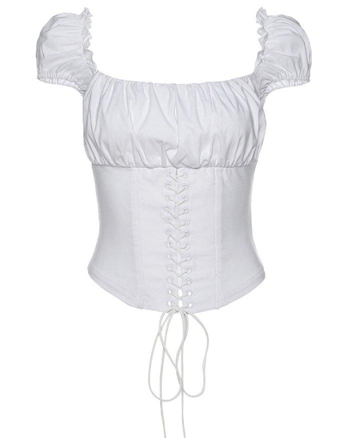 Vintage Lace-Up Blouse - White L