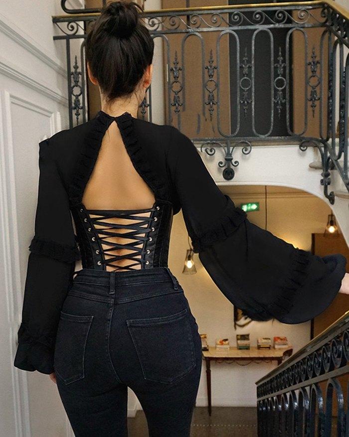 Vintage Corset Lace-Up Blouse - Black L