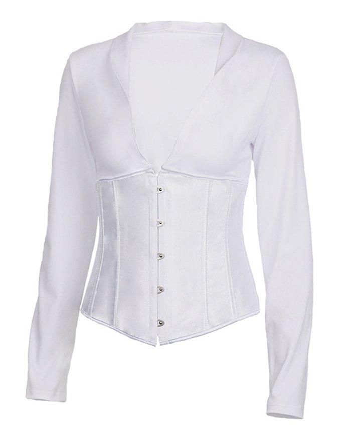 Vintage Corset Lace-Up Blouse - White L