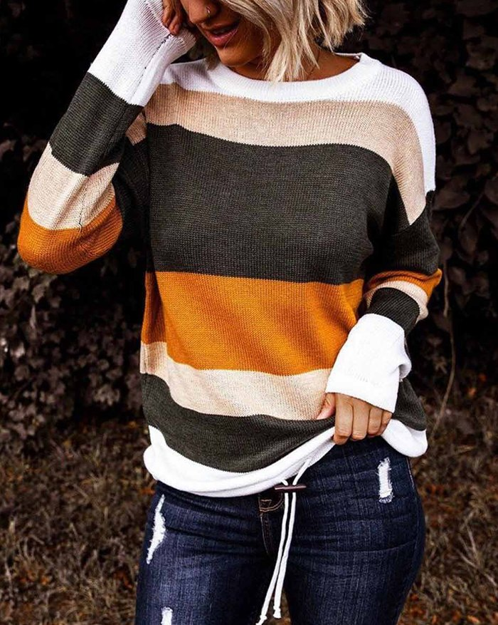 Colorblock Stripe Knit Sweater - Red 2XL