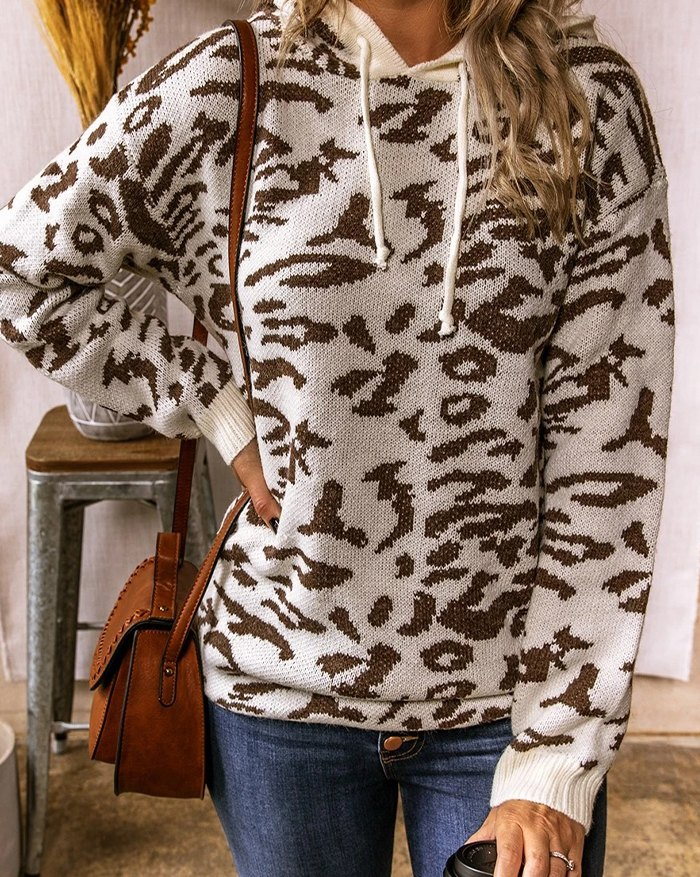 Casual Printed Hooded Sweater - Brown L