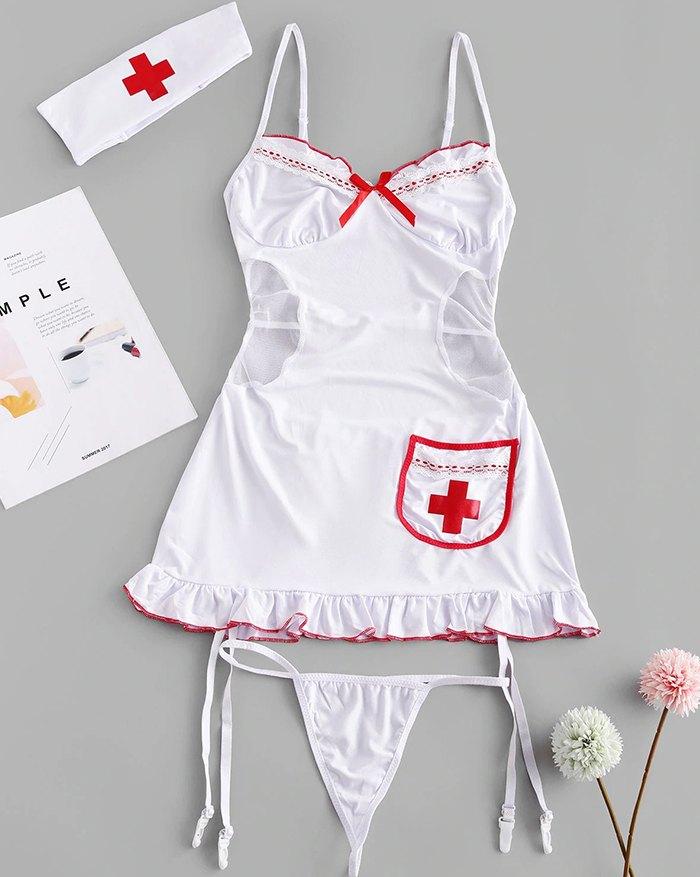 Lace Mesh Nurse Costume Sexy Set - White ONE SIZE