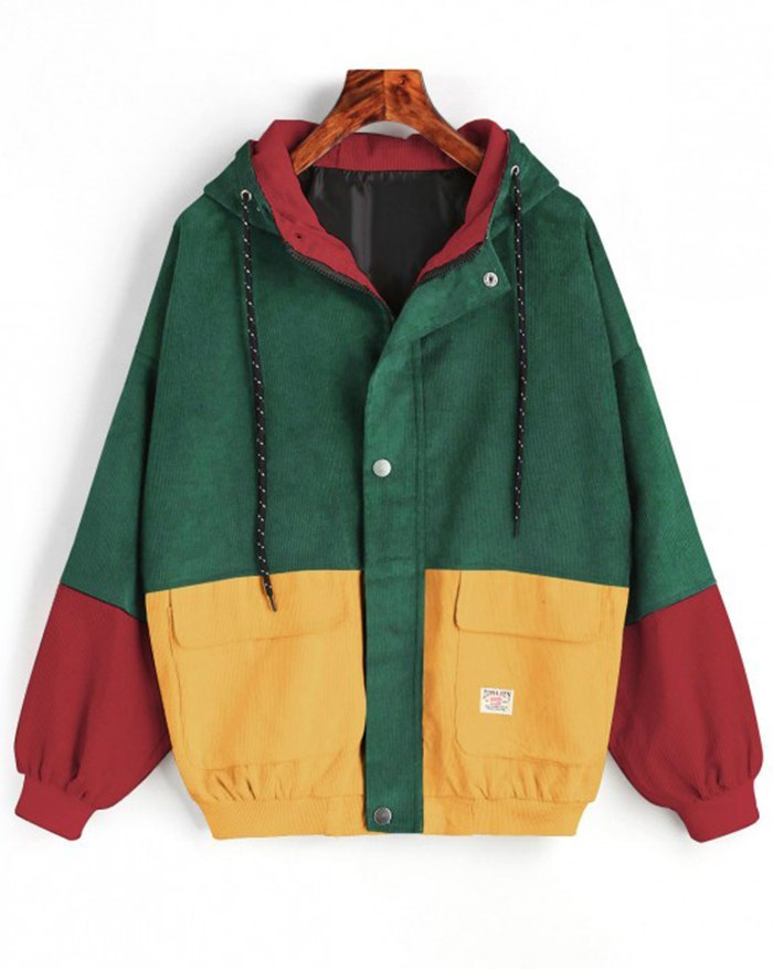 Hooded Color Block Corduroy Jacket - Chive M