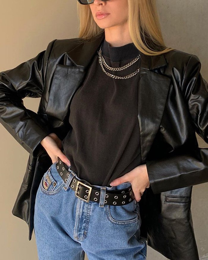 PU Leather Casual Blazer Jacket - Black M