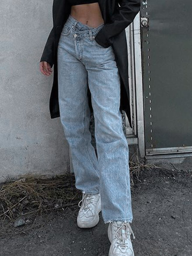 Irregularity Waist Straight-Leg Jeans - Blue XL