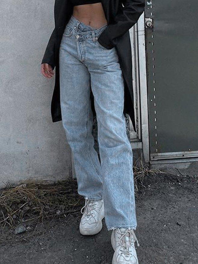 Irregularity Waist Straight-Leg Jeans - Blue L