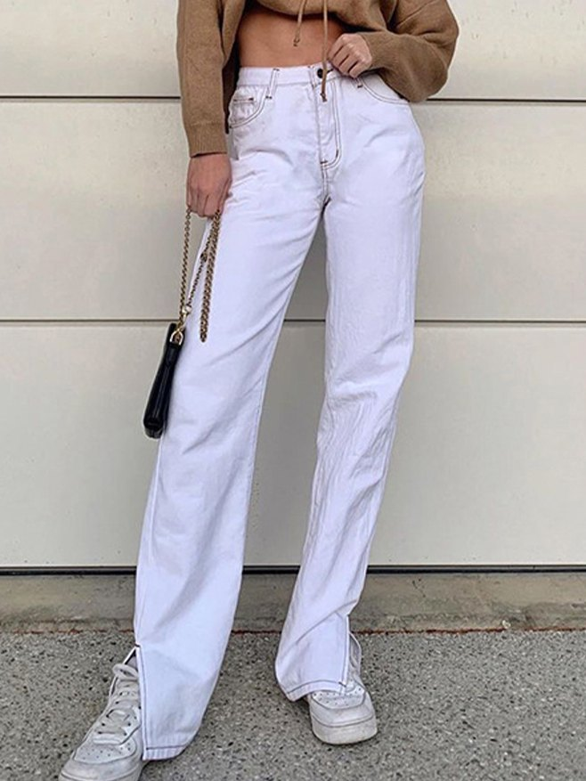 Hip Hop Split Straight Jeans - White S