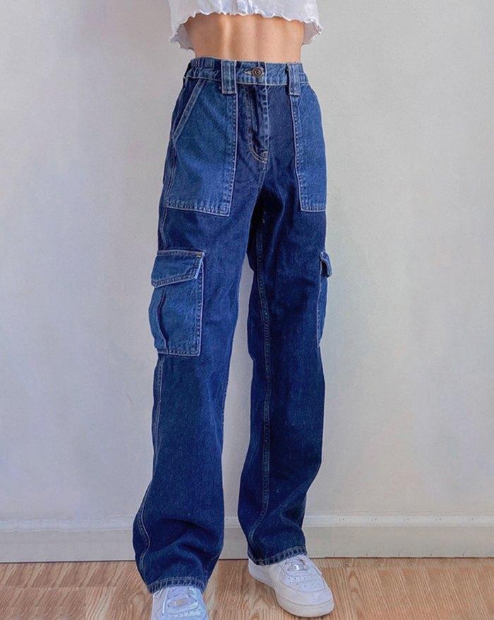 Pocket Stitching Contrast Hip-Hop Jeans - Blue S