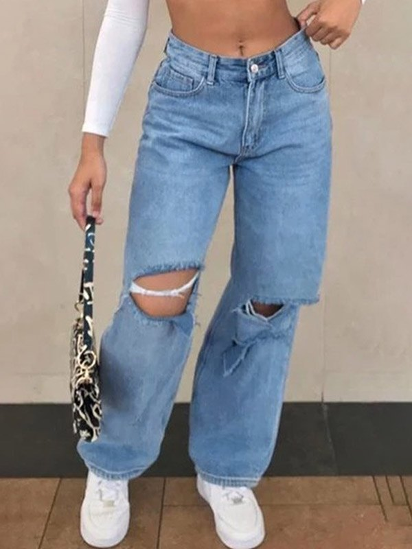 High Waist Ripped Wide Leg Jeans - Blue S