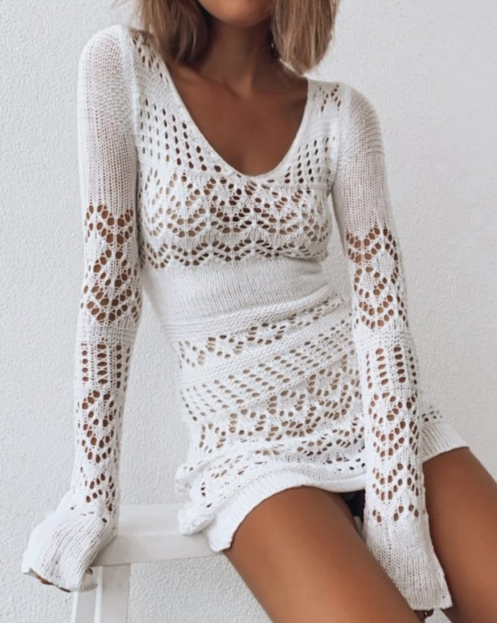 Crochet Hollow Sweater Dress - White L
