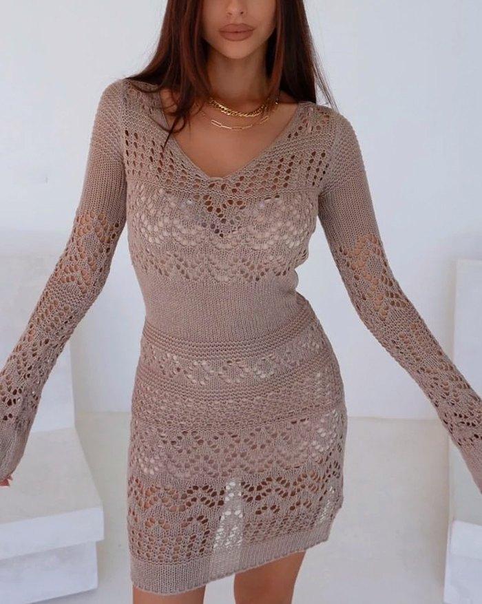 Crochet Hollow Sweater Dress - Brown XS