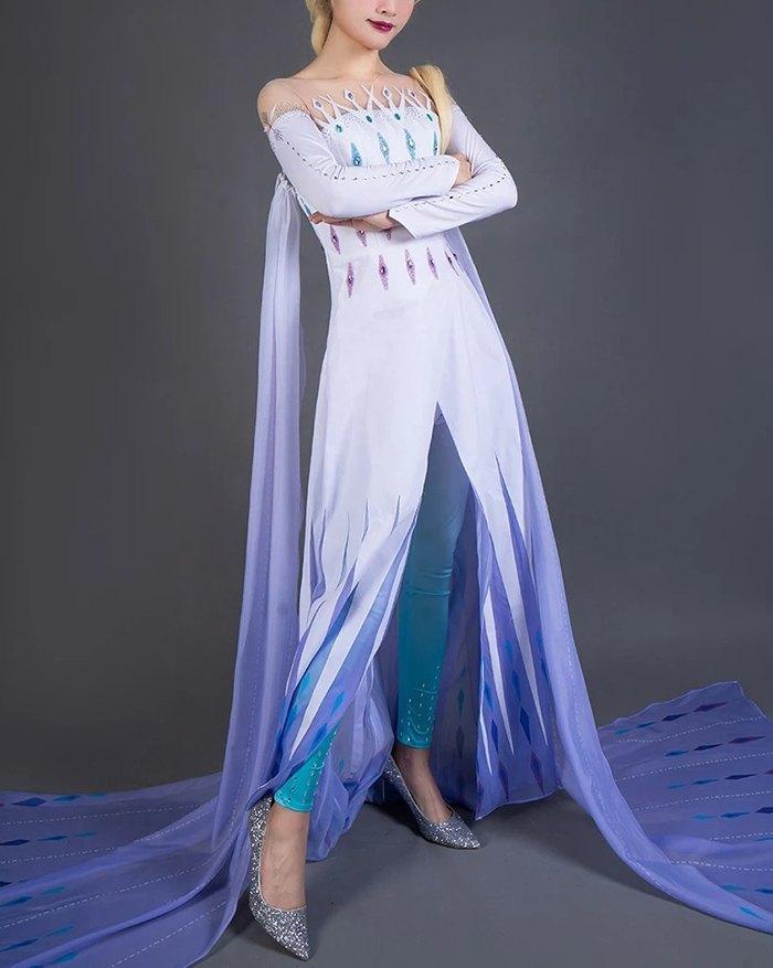 Elsa Cosplay Cape Maxi Dress - multicolorple Colors M