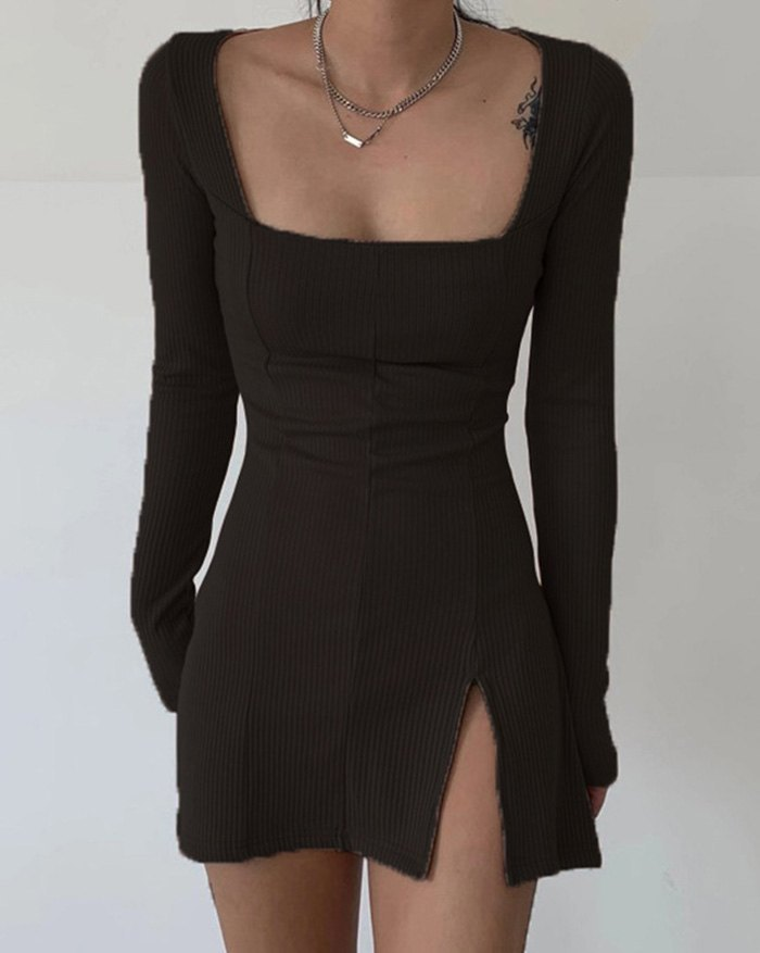 Vintage Rib Split Sweater Dress - Black L