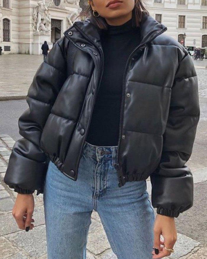 Puffer Jacket Pu Leather Puffer Jacket - Black L