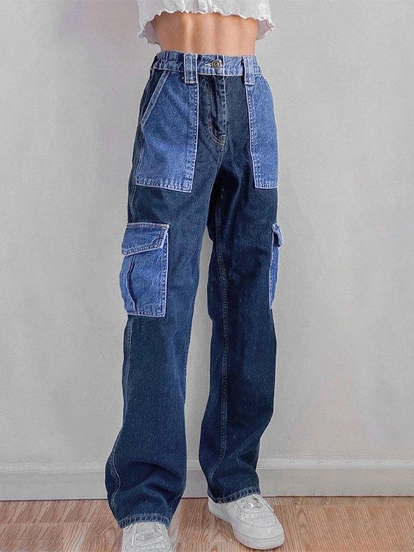 Contrast Patchwork Jeans - Blue S