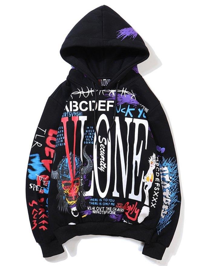 Hip Hop Graffiti Printed Men's Hoodie - Black L