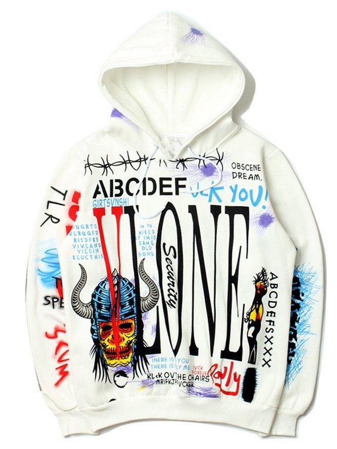 Hip Hop Graffiti Printed Men's Hoodie - White XL