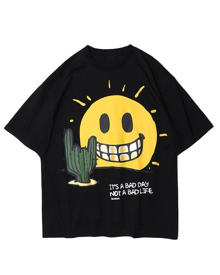 Men's Smiley Face Print Tee - Black L