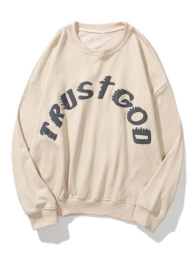 Men's Distressed Letter Print Sweatshirt - Apricot L