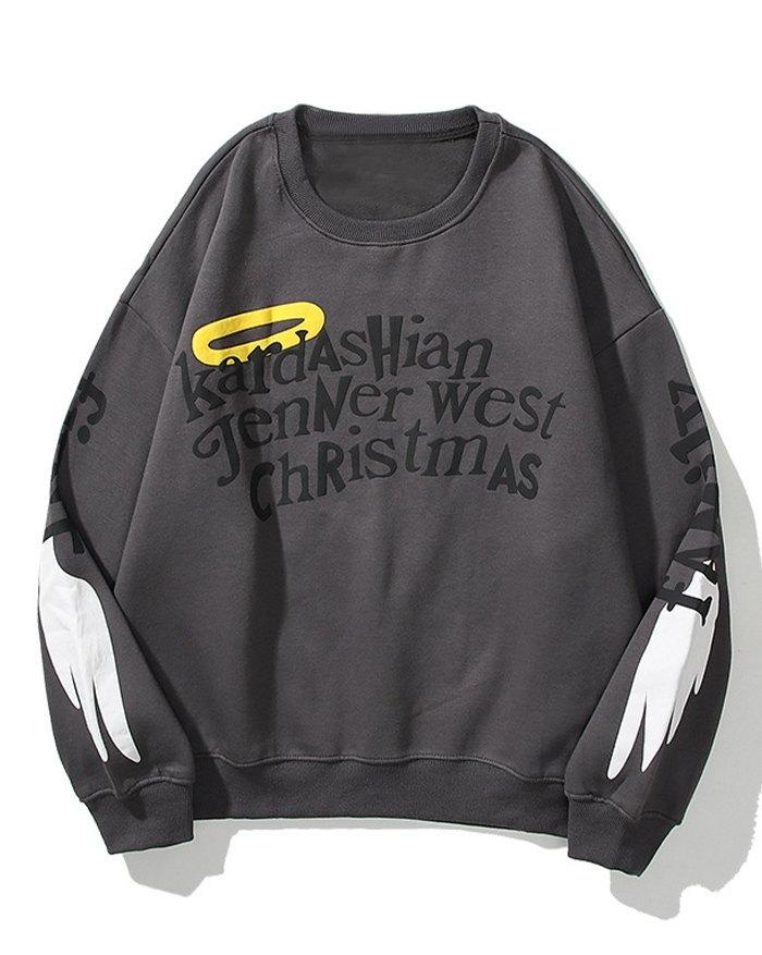 Men's Graffiti Letter Print Sweatshirt - Dark Gray L