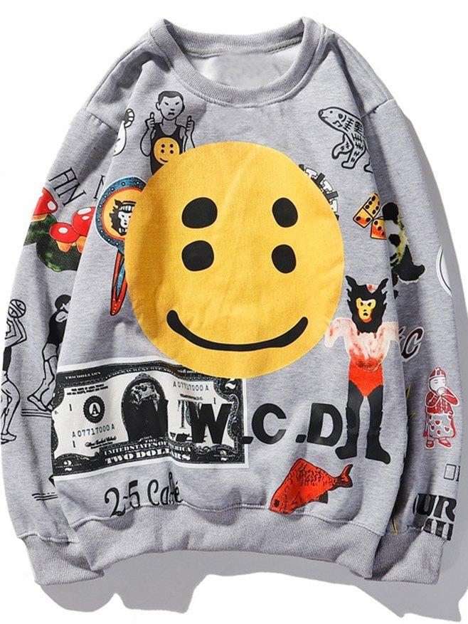 Men's Smile Print Sweatshirt - Gray L