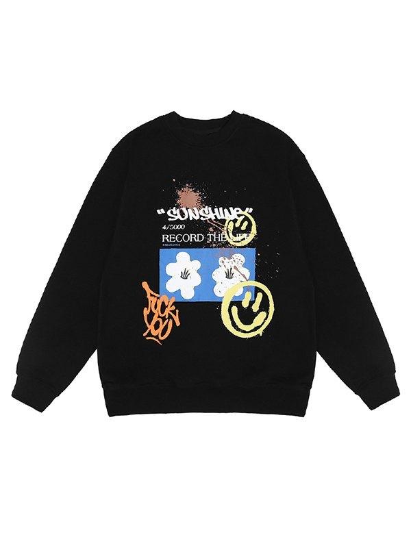 Men's Smile Print Pullover Sweatshirt - Black XL