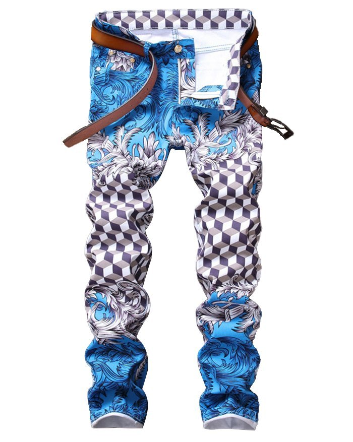 Men's Mid Waist Printed Skinny Pants - Blue 5XL