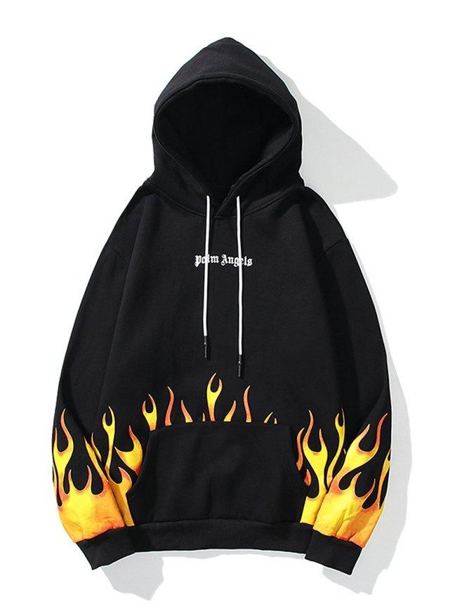 Men's High Street Flame Printed Hoodie - Black S