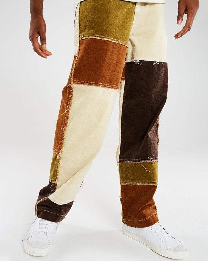 Men's Color Block Pants - multicolorple Colors S