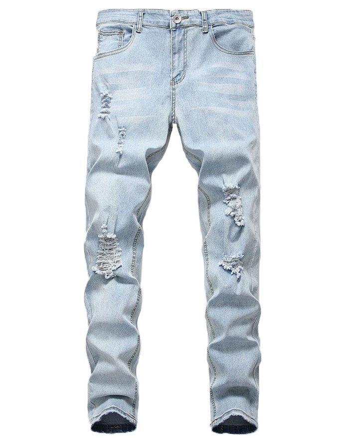 Men's Ripped Stretch Skinny Jeans - Blue 3XL