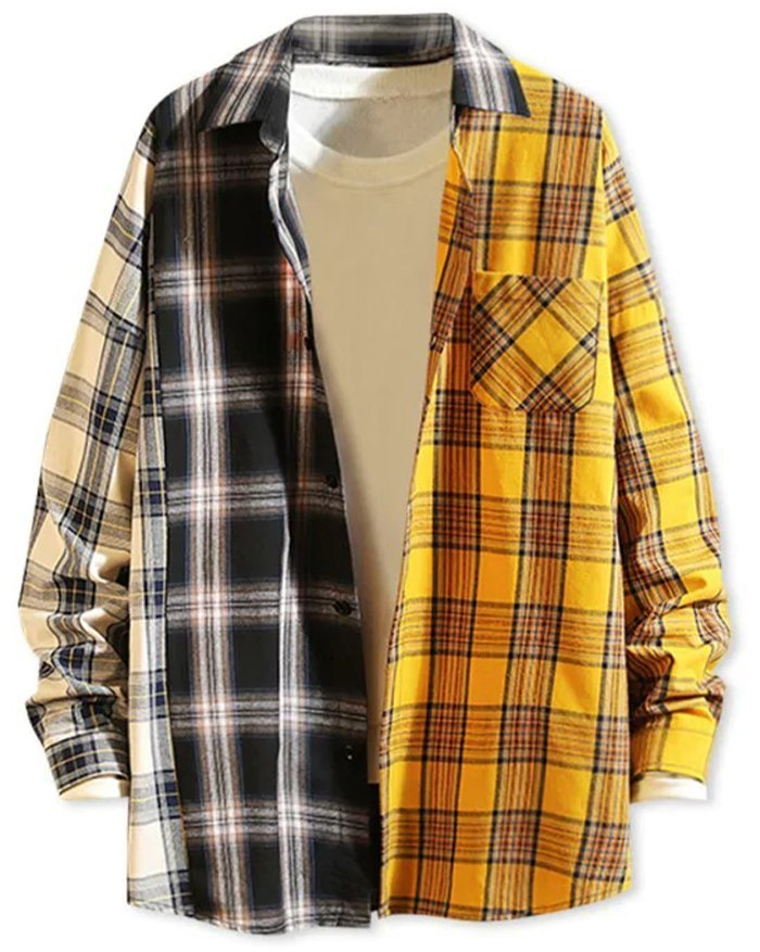 Men's Color Block Plaid Shirt - Black 2XL