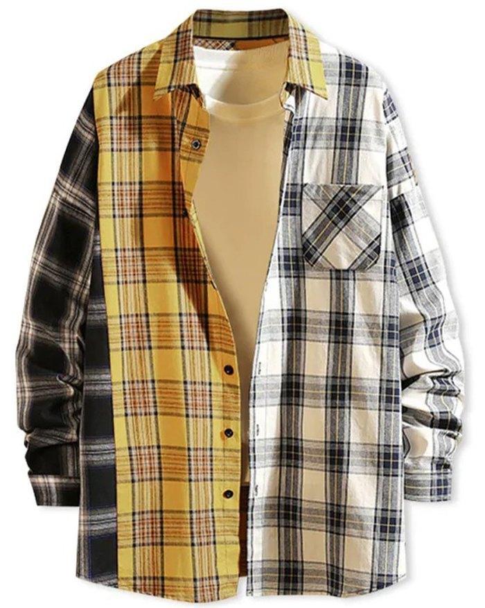Men's Color Block Plaid Shirt - Yellow 2XL