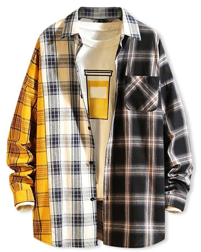 Men's Color Block Plaid Shirt - White 2XL