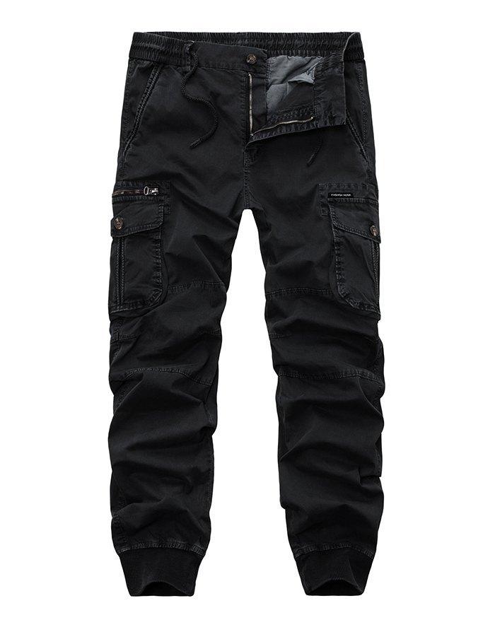 Men's Solid Cargo - Black 3XL