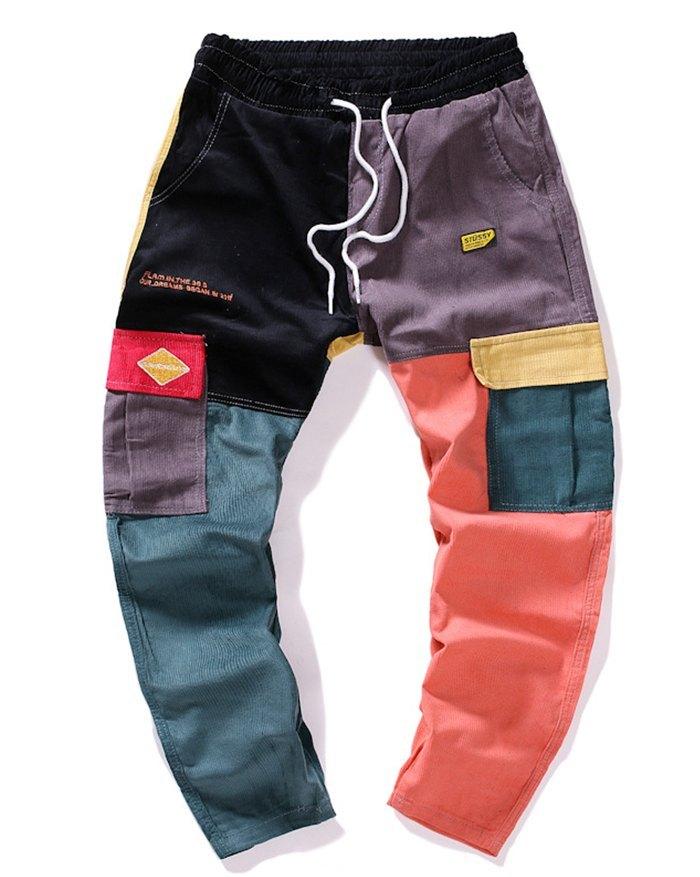 Men's Color Block Corduroy Straight Pants - multicolorple Colors S
