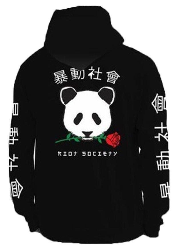 Men's Chinese Panda Print Hoodie - Black L