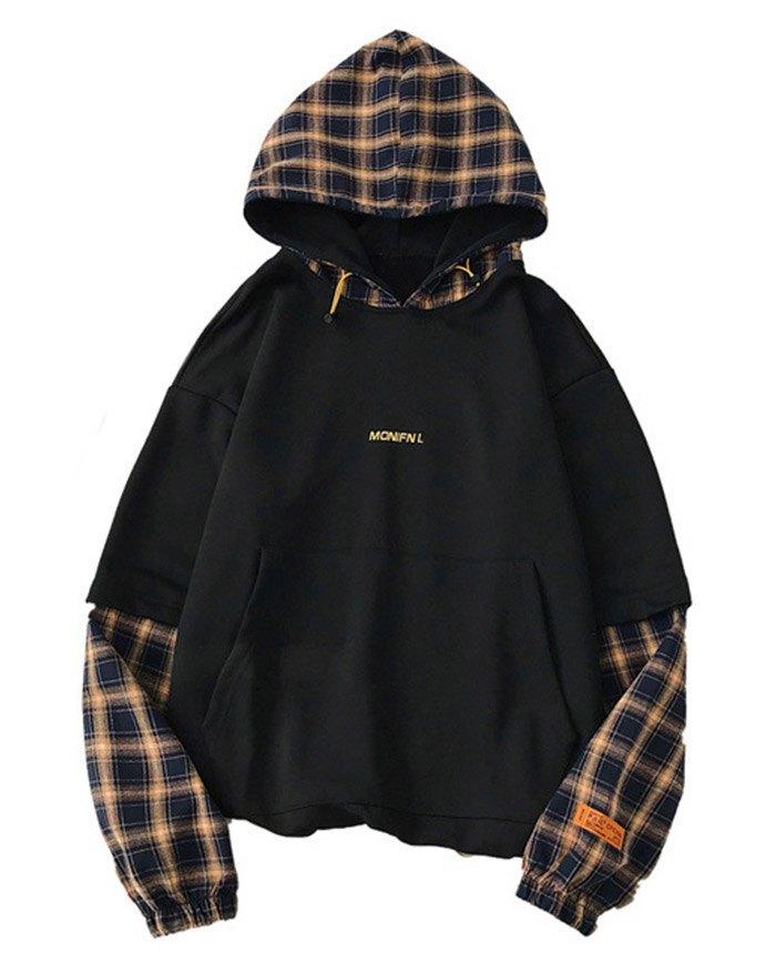 Men's Plaid Patchwork Hoodie - Black XL