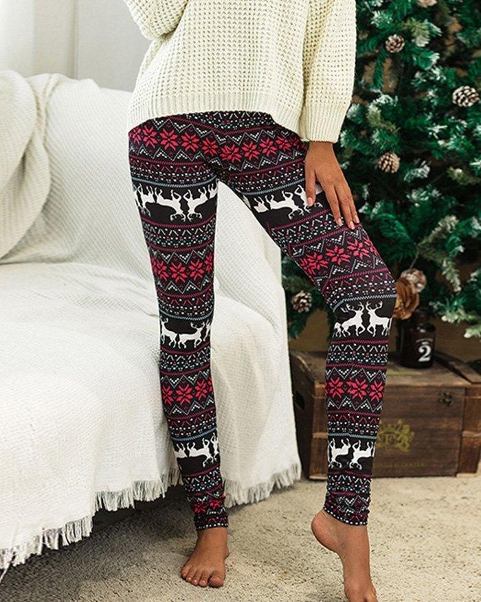 Christmas Deer Print Skinny Legging - multicolorple Colors S
