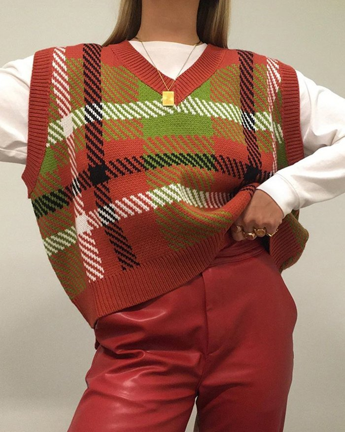 Plaid Striped Knitted Sweater Vest - Orange ONE SIZE