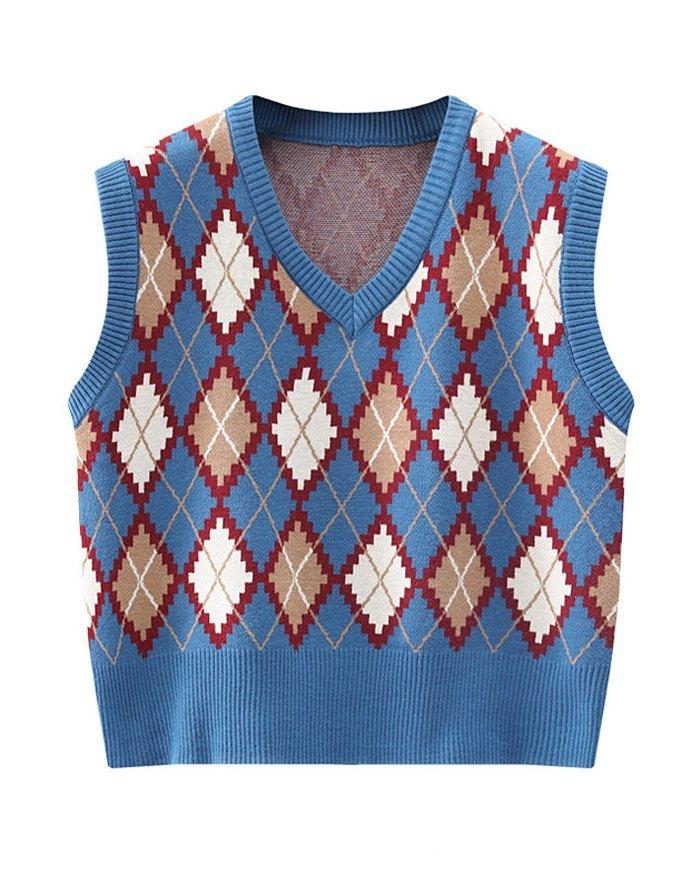 Vintage Plaid Argyle Sweater Vest - Blue ONE SIZE