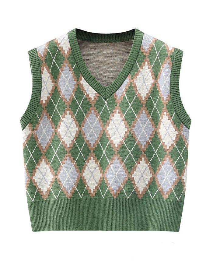 Vintage Plaid Argyle Sweater Vest - Green ONE SIZE