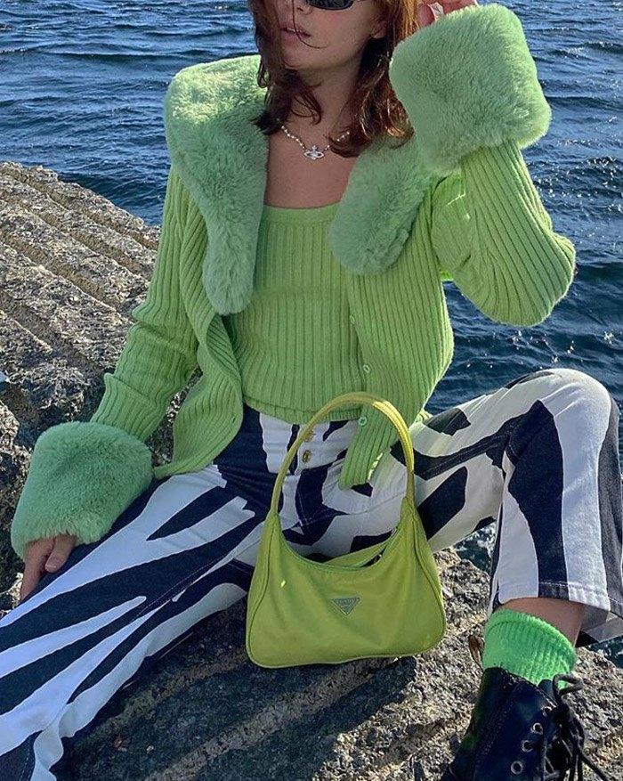 Detachable Fur Trim Knitted Cardigan - Green M