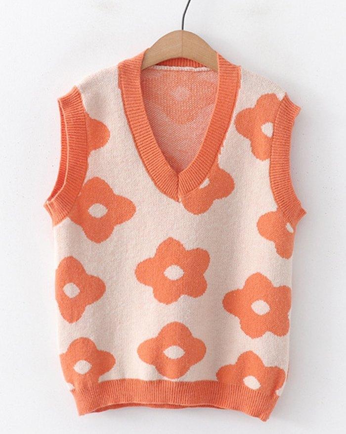 Floral Print Jacquard Sweater Vest - Orange ONE SIZE