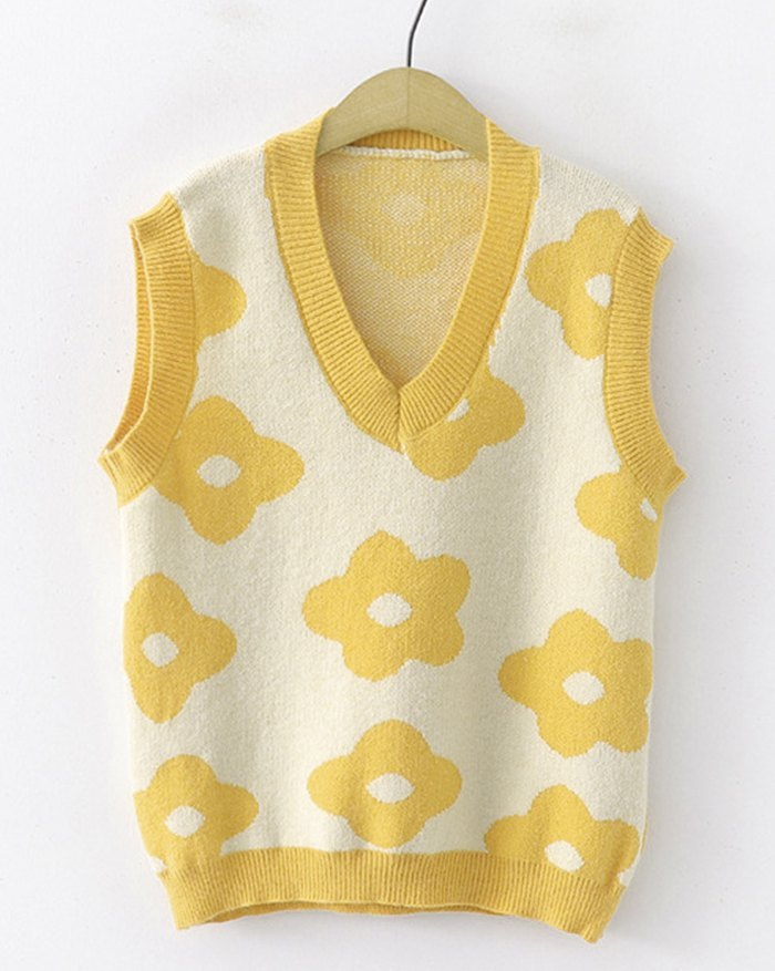 Floral Print Jacquard Sweater Vest - Yellow ONE SIZE