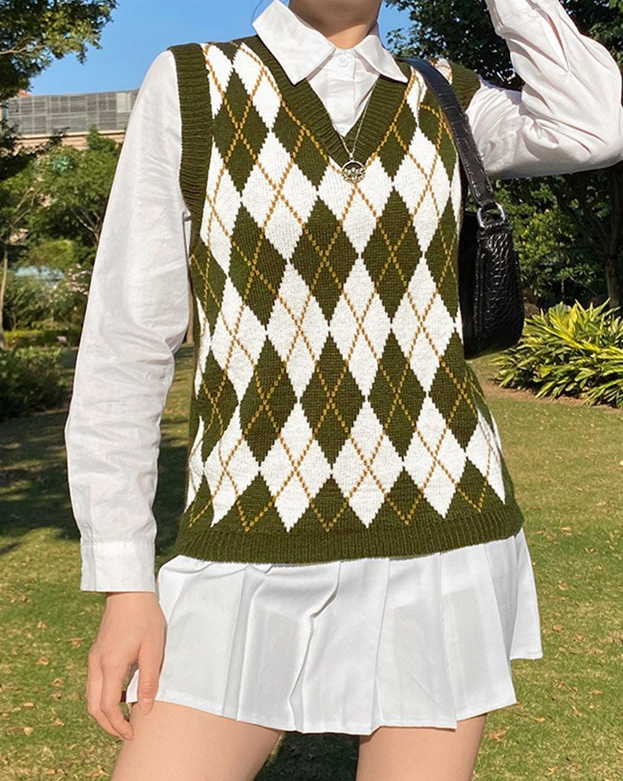 Argyle Vintage Sweater Vest - Chive XL