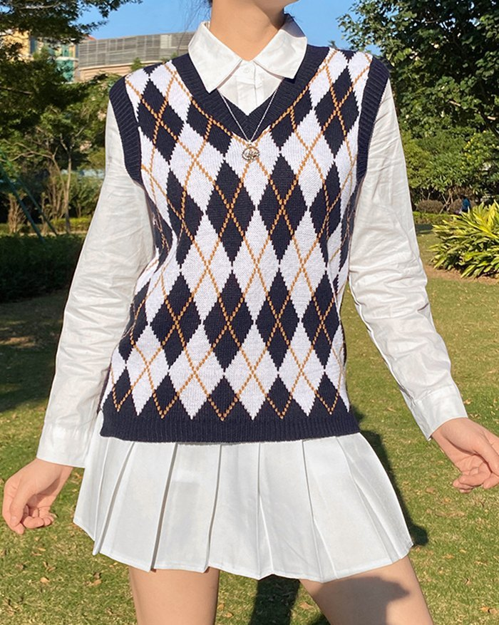 Argyle Vintage Sweater Vest - Navy Blue XL