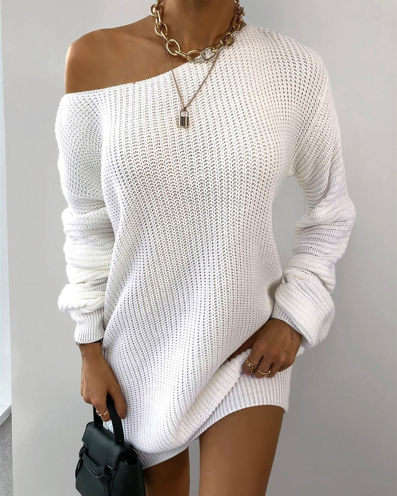 Multi-wear Lantern Sleeve Casual Sweater Dress - White S